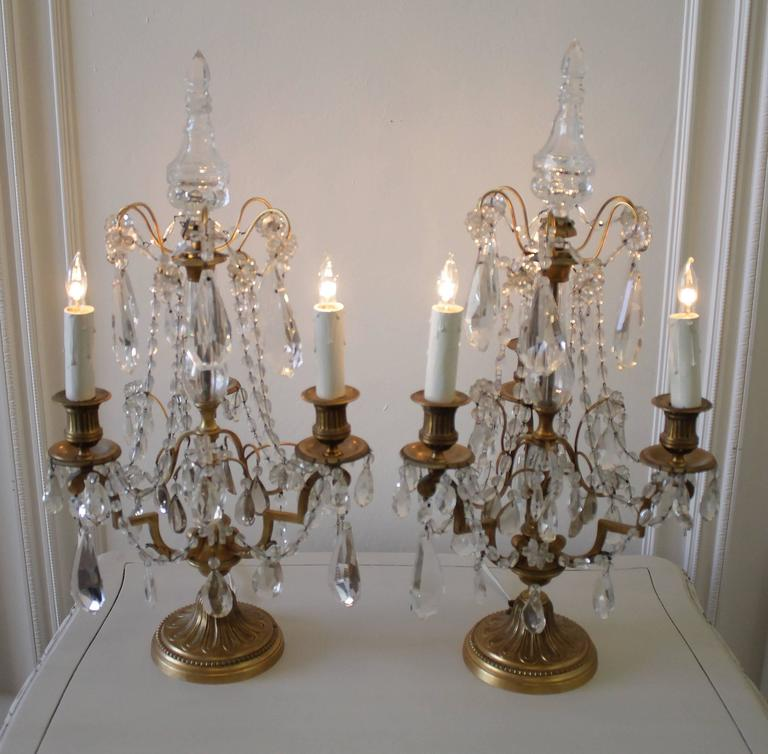 Pair Of French Brass And Crystal Three Light Girandole