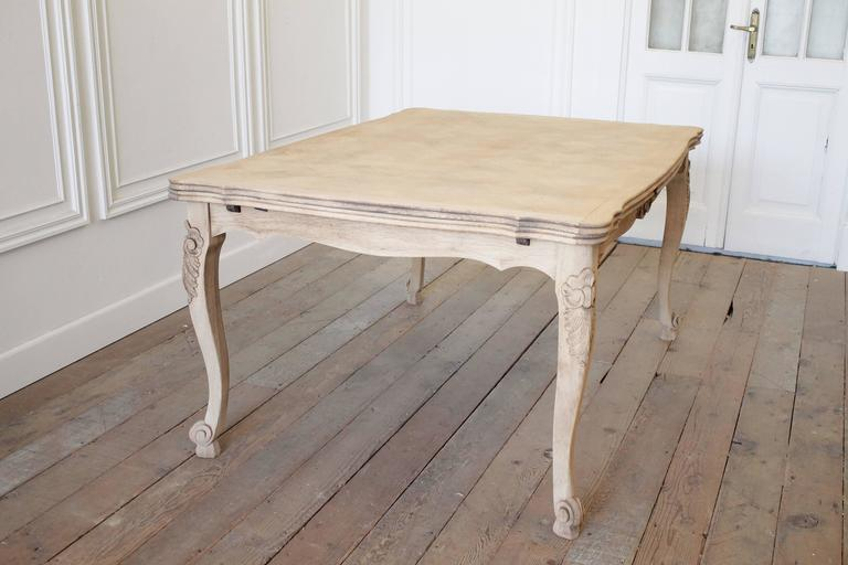 French Draw Leaf Dining Table With A Carefully Stripped Parquet Top And Painted Base