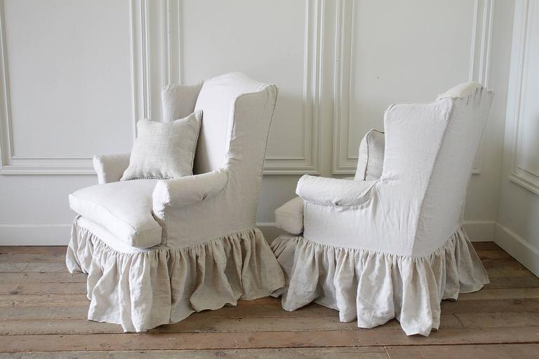 Vintage Wingback Chairs Slip Covered In Organic Irish Linen At 1stdibs