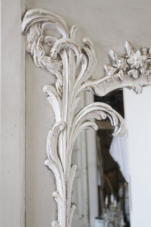 Mid-20th Century Pair of Vintage French Style Painted Trumeau Mirrors with Rose Swags For Sale