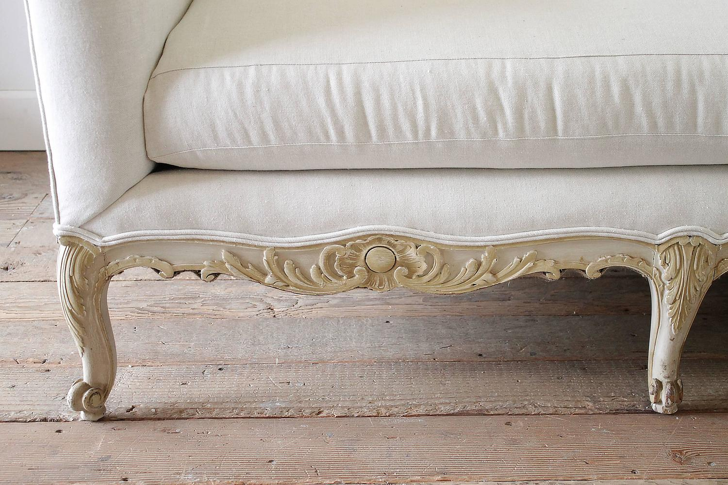 Antique Painted French Country Louis XV Style Sofa Settee