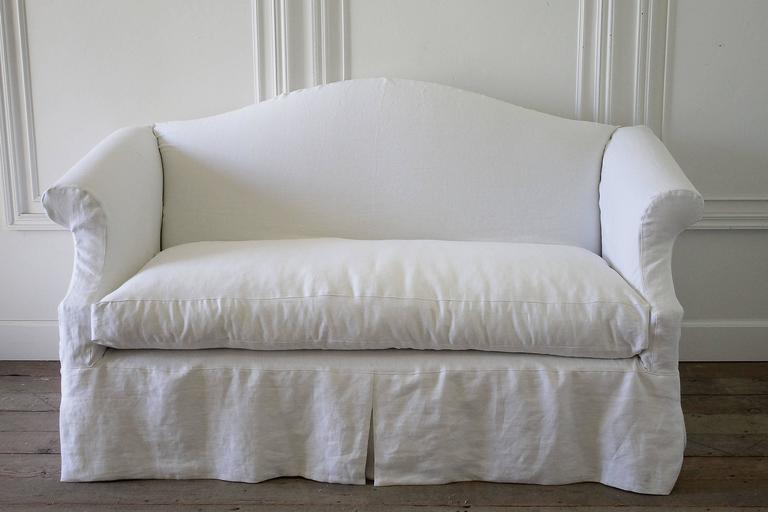 Custom Slip Covered Chippendale Style Loveseat In White