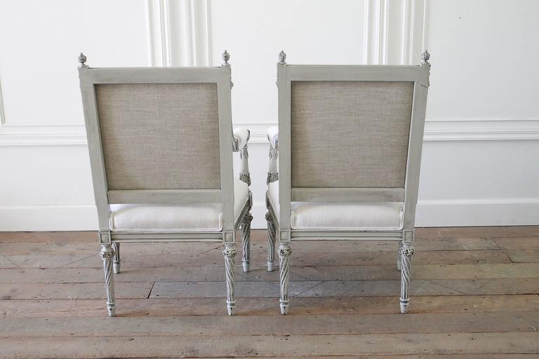 French Pair Of 19th Century Painted Rose Carved Louis XVI Style Chairs In  Belgian Linen For