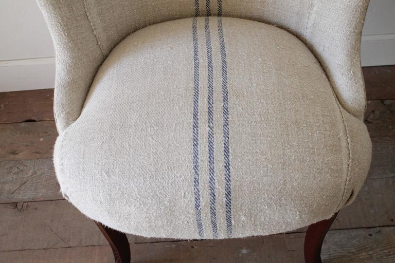 Pair Of Ralph Lauren Wing Chairs In Antique French Linen Grain Sack At 1stdibs