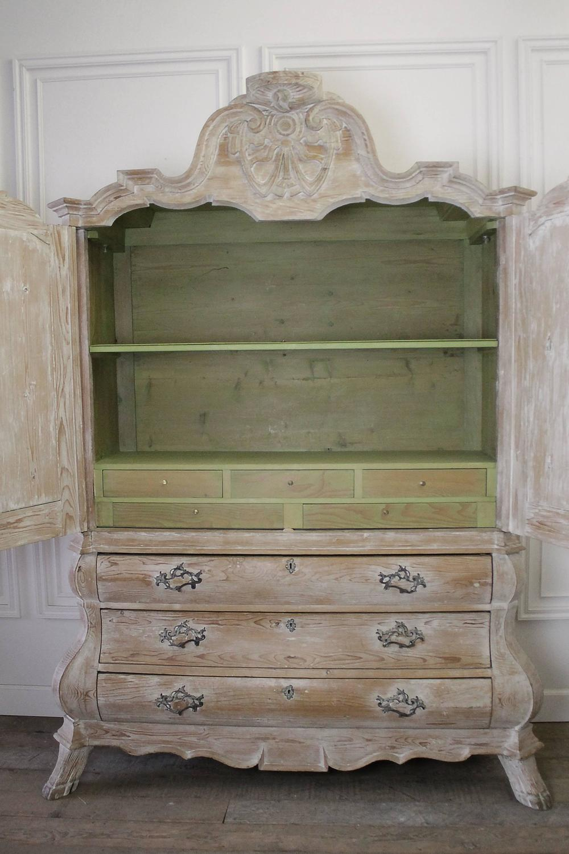 Leg Press For Sale >> Antique Dutch White Wash Pine Linen Press Cabinet For Sale at 1stdibs