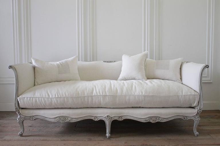 High Quality Lovely French Louis XV Style Sofa Painted In Our Grain Sack Grey Paint, And  Hand