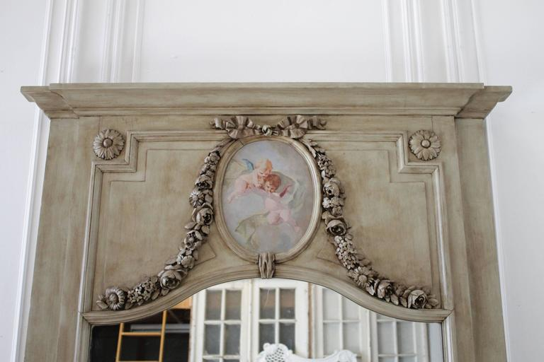 Large Painted Cherub And Carved Rose Swags Trumeau Mirror