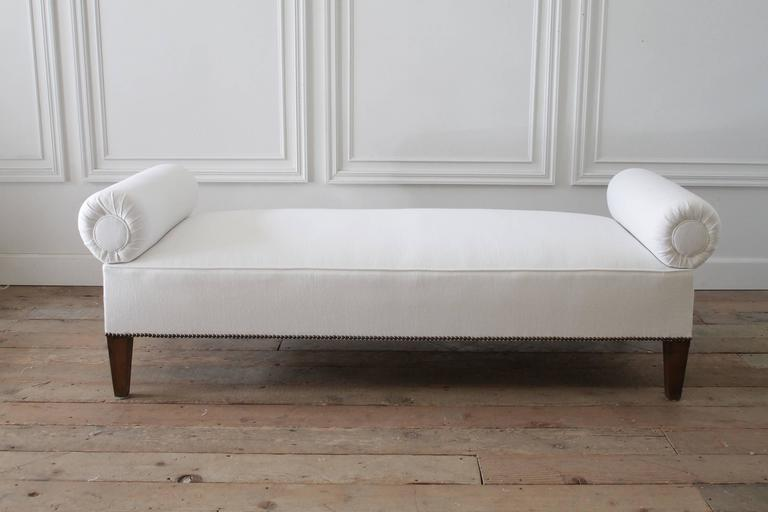 20th Century Vintage Custom Italian Style Bench with Brass Lion Hardware For Sale