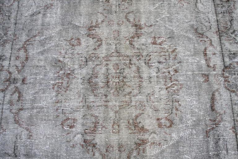 Vintage Turkish Hand Knotted Wool Rug For Sale 1