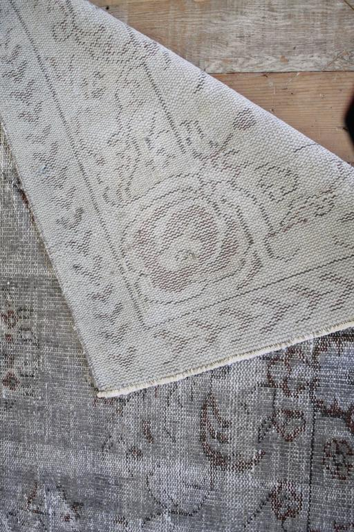 Vintage Turkish Hand Knotted Wool Rug For Sale 2