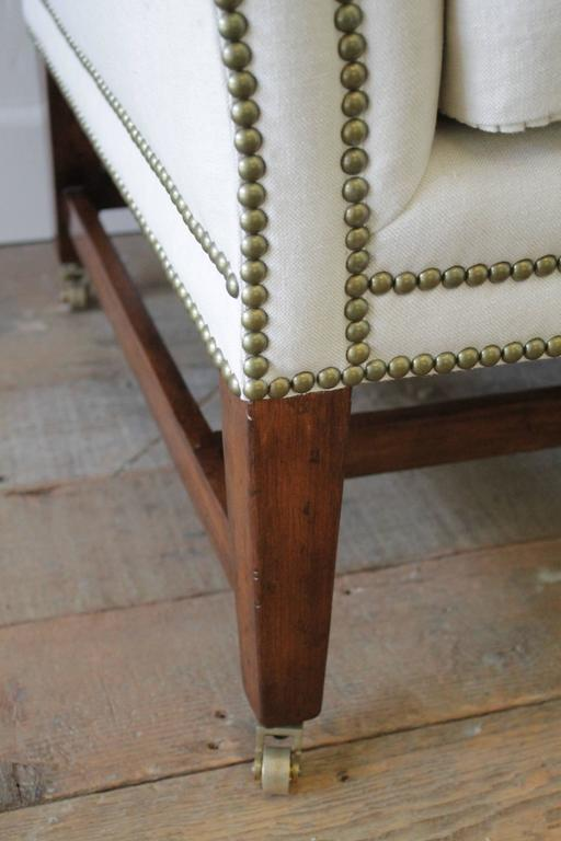 Vintage Chippendale Style Sofa Upholstered In Natural