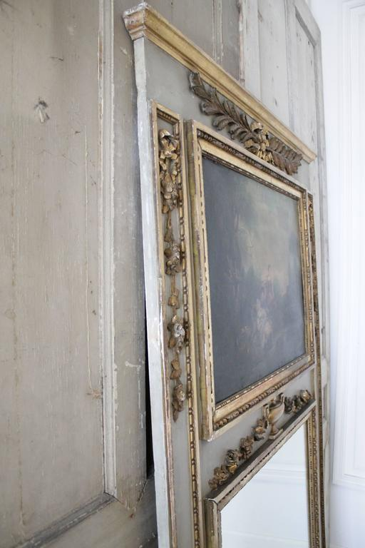 19th Century Antique French Trumeau Mirror With Oil