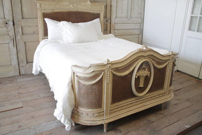 19th Century Full Size French Country Style Painted Double Caned Bed 2