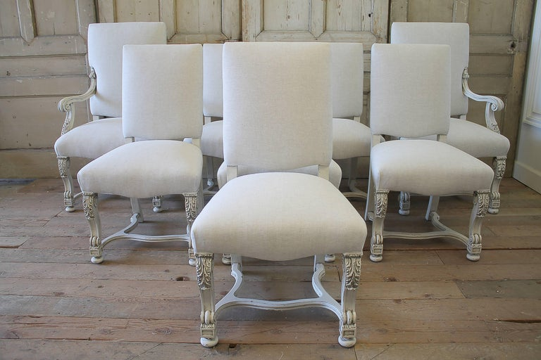 Set of Eight Carved and Linen Upholstered Renaissance Dining Chairs For Sale 6