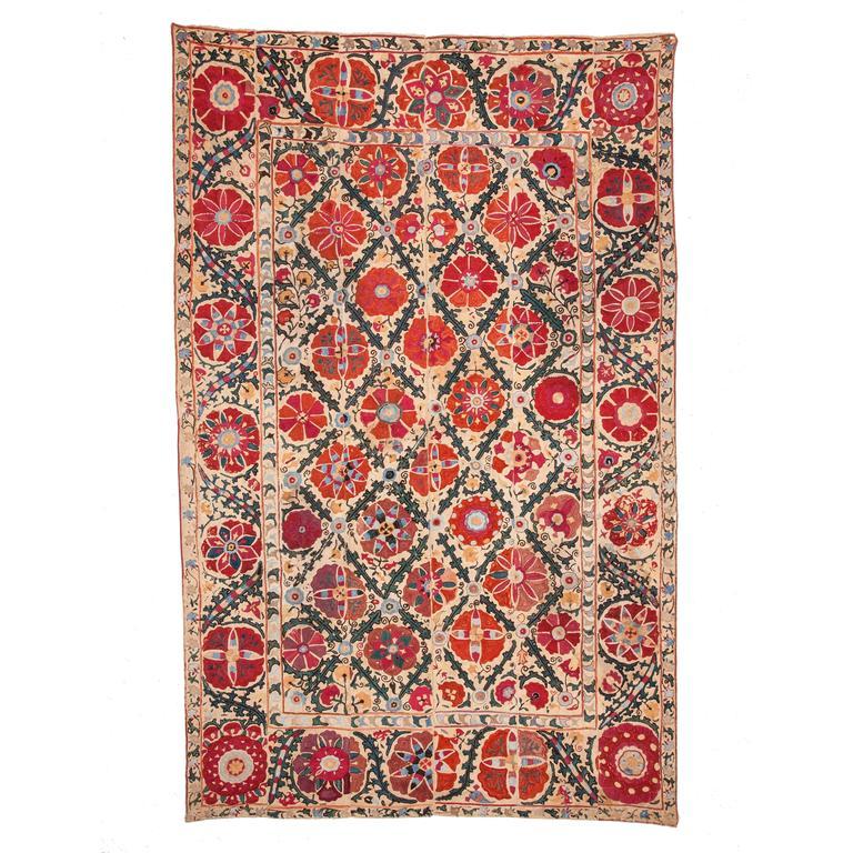 19th Century Uzbek Suzani from Bukhara Silk on Cotton