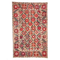 19th Century Uzbek Suzani from Bukhara Silk on Cotton