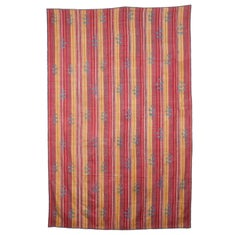 19th Century Uzbek Suzani, Silk Embroidery on a Silk Hand Woven Silk Textile