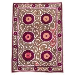 First Half of the 20th Century Uzbek Samarkand Suzani in Silk and Cotton