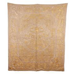19th Century Indo Portuguese Silk Embroidery on Silk Background