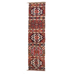 19th Century Antique South Caucasian Kilim with a Very Fine Texture