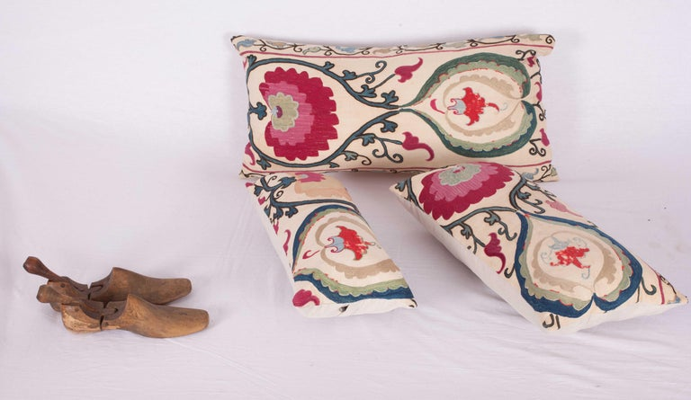 Antique Suzani Pillow Cases Made from a Suzani from Bukhara Uzbekistan In Good Condition For Sale In Istanbul, TR