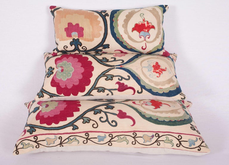19th Century Antique Suzani Pillow Cases Made from a Suzani from Bukhara Uzbekistan For Sale