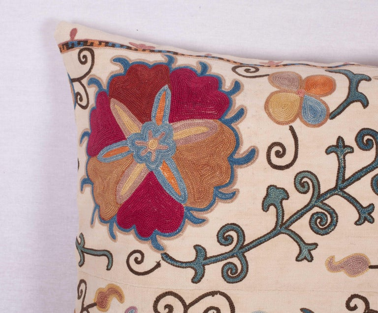 Antique Suzani Pillow Fashioned from a 19th Century Uzbek Bukhara Suzani In Good Condition For Sale In Istanbul, TR