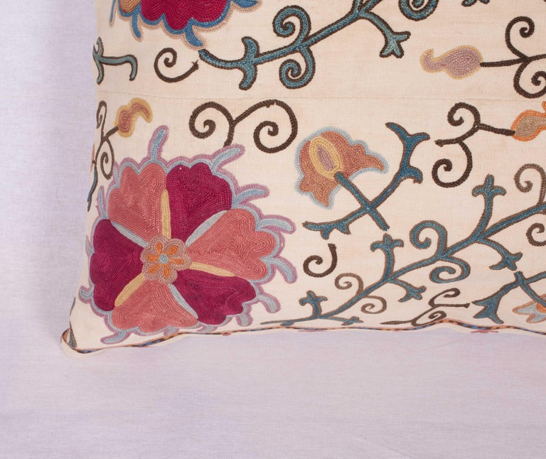 Silk Antique Suzani Pillow Fashioned from a 19th Century Uzbek Bukhara Suzani For Sale