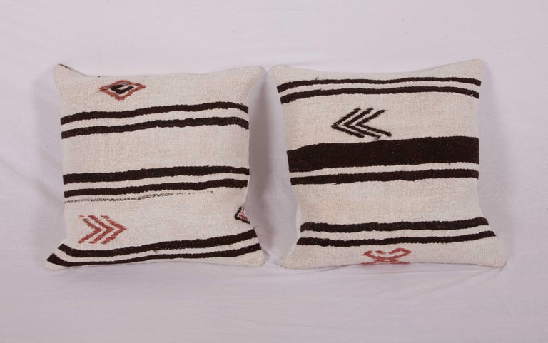 Cushion Covers or Pillows Fashioned from a Mid-20th Century Anatolian Hemp Kilim For Sale 2