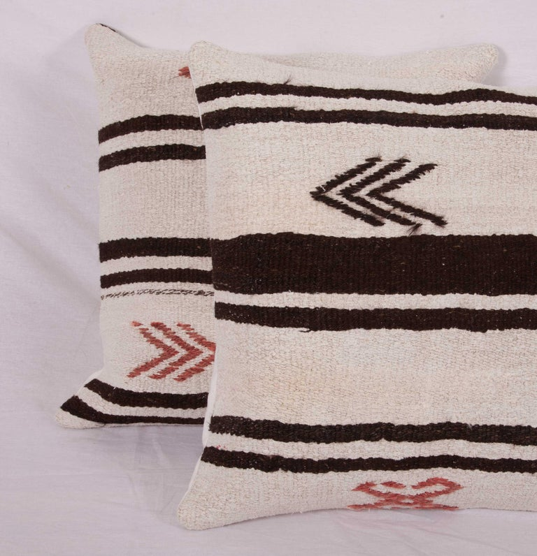 Cushion Covers or Pillows Fashioned from a Mid-20th Century Anatolian Hemp Kilim For Sale 3
