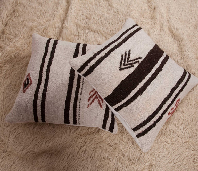Cushion Covers or Pillows Fashioned from a Mid-20th Century Anatolian Hemp Kilim For Sale 6