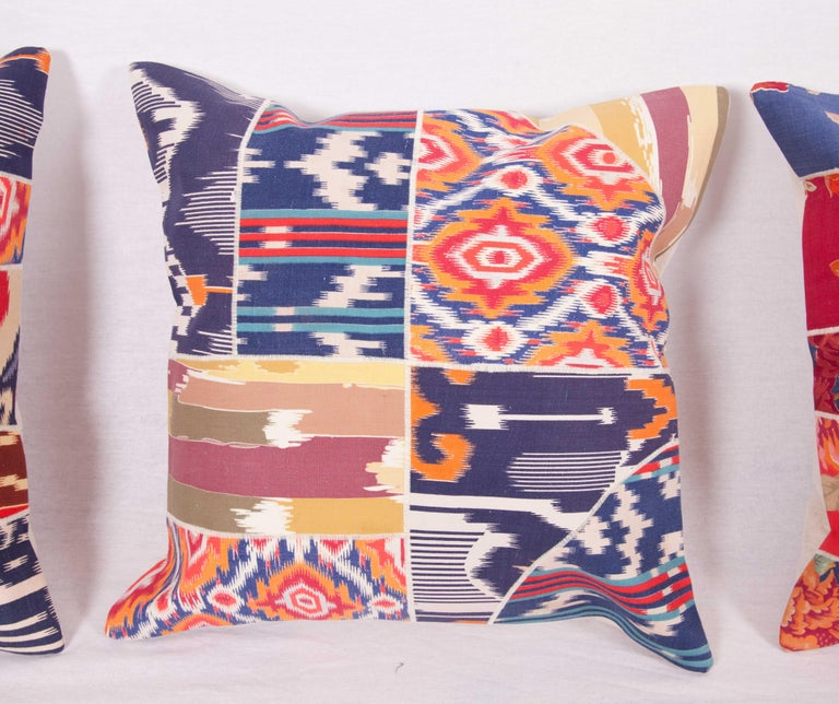 Woven Patch Work Pillow Cases Fashioned from Old and Antique Russian Trade Cloth For Sale