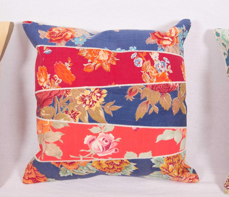 Patch Work Pillow Cases Fashioned from Old and Antique Russian Trade Cloth In Good Condition For Sale In Istanbul, TR