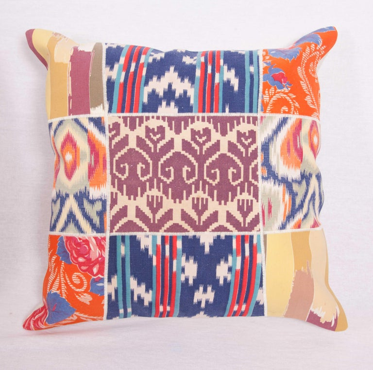 Cotton Patch Work Pillow Cases Fashioned from Old and Antique Russian Trade Cloth For Sale