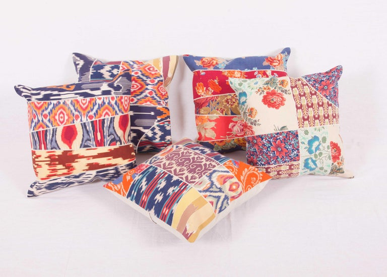 Patch Work Pillow Cases Fashioned from Old and Antique Russian Trade Cloth For Sale 1