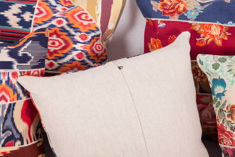 Patch Work Pillow Cases Fashioned from Old and Antique Russian Trade Cloth For Sale 2
