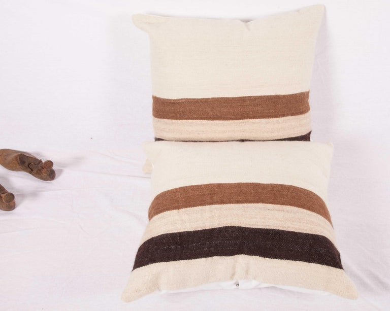 Hand-Woven Pillow Cases Fashioned from a Mid-20th Century Anatolian Angora Siirt Blanket For Sale