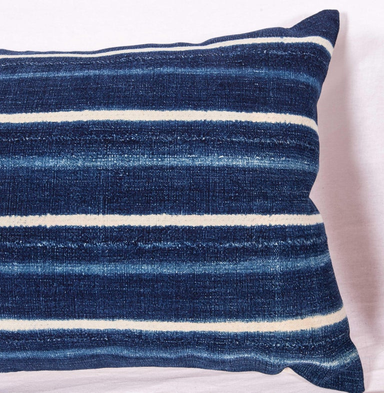 Tribal Vintage Indigo Pillow / Cushion Covers Fashioned from a Cloth from Mali Africa For Sale