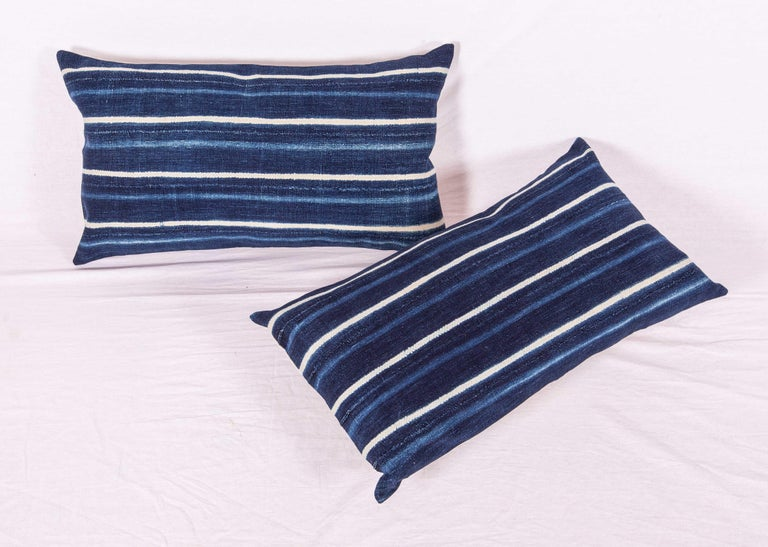 Malian Vintage Indigo Pillow / Cushion Covers Fashioned from a Cloth from Mali Africa For Sale