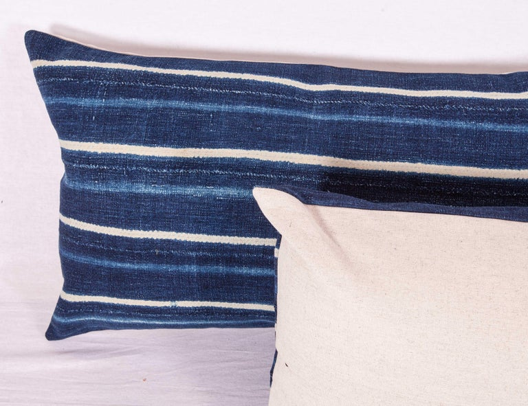 Hand-Woven Vintage Indigo Pillow / Cushion Covers Fashioned from a Cloth from Mali Africa For Sale