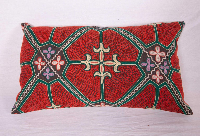 Tribal Pillow / Cushion Covers Fashioned from a Midcentury Kyrgyz Tush Kiz Embroidery For Sale