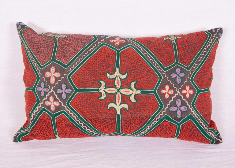 Embroidered Pillow / Cushion Covers Fashioned from a Midcentury Kyrgyz Tush Kiz Embroidery For Sale