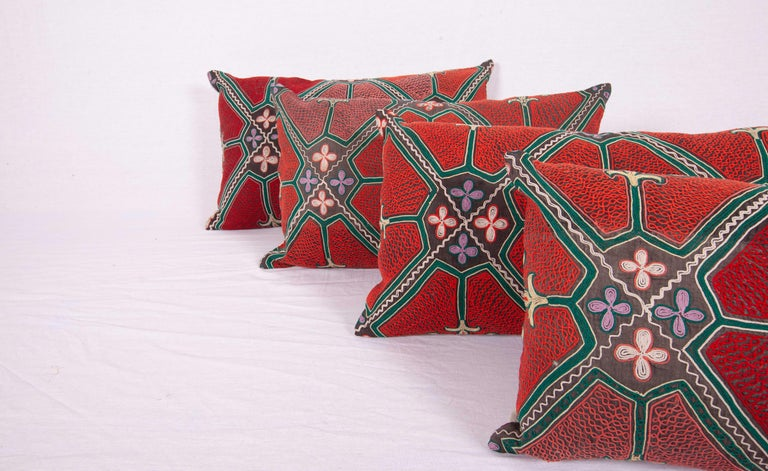 20th Century Pillow / Cushion Covers Fashioned from a Midcentury Kyrgyz Tush Kiz Embroidery For Sale