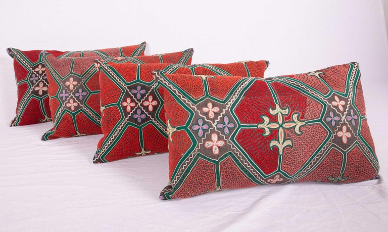 Cotton Pillow / Cushion Covers Fashioned from a Midcentury Kyrgyz Tush Kiz Embroidery For Sale