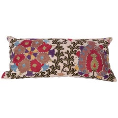 Antique Pillow Made Out of a Late 19th Century, Uzbek Bukhara Suzani