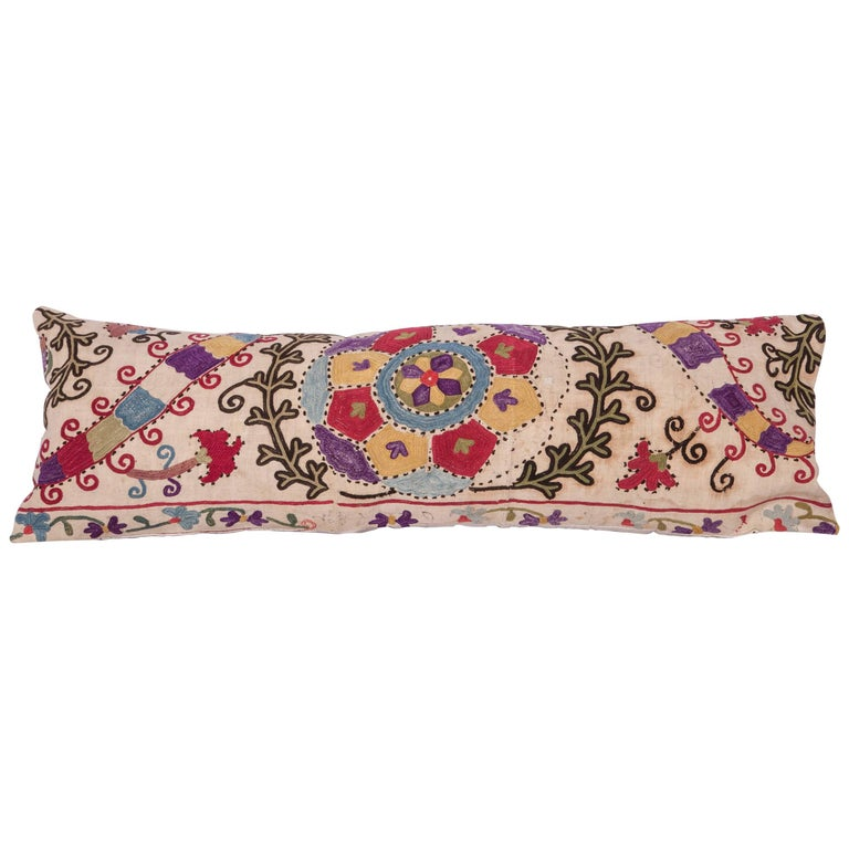 Antique Pillow Made Out of a Late19th Century, Uzbek Bukhara Suzani For Sale
