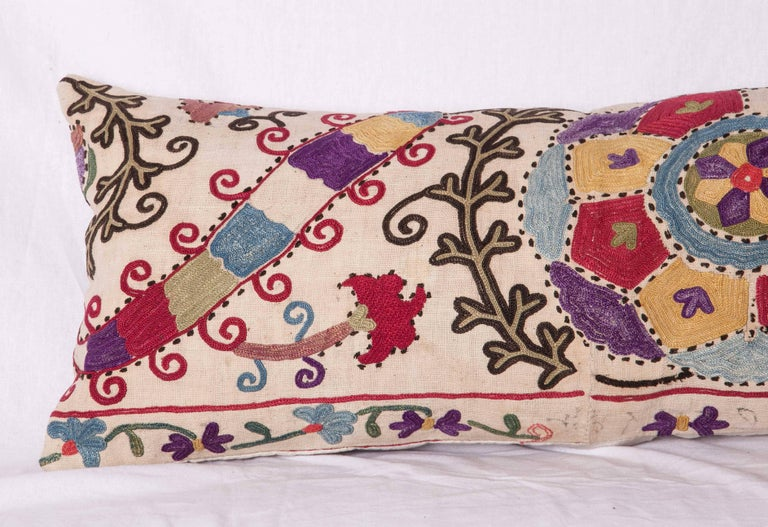 Embroidered Antique Pillow Made Out of a Late19th Century, Uzbek Bukhara Suzani For Sale