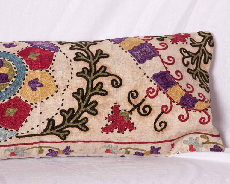 Antique Pillow Made Out of a Late19th Century, Uzbek Bukhara Suzani In Good Condition For Sale In Istanbul, TR