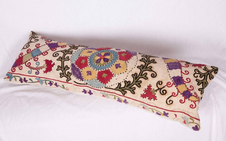 Cotton Antique Pillow Made Out of a Late19th Century, Uzbek Bukhara Suzani For Sale