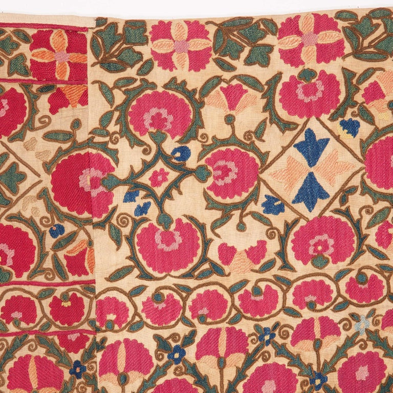 Embroidered Antique Suzani from Ura Tube, Tajikistan, 19th Century For Sale